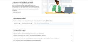 Screenshot beginscherm Facebook Ad Library